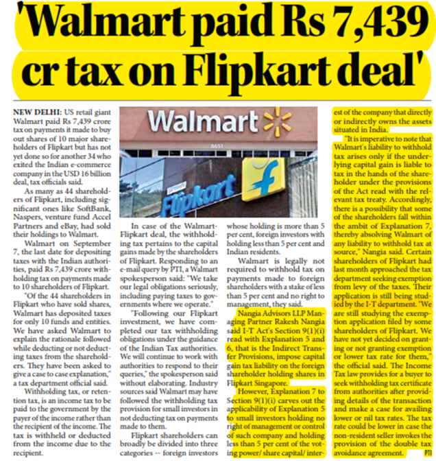 Walmart paid Rs 7,439 crore tax on Flipkart deal; did not deduct taxes from 34 shareholders