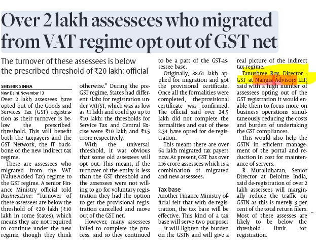 Over 2 lakh assessees who migrated from VAT regime opt out of GST net - Tanushree Roy