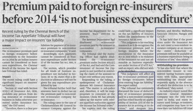 Premium paid to foreign re-insurers before 2014 is not business expenditure
