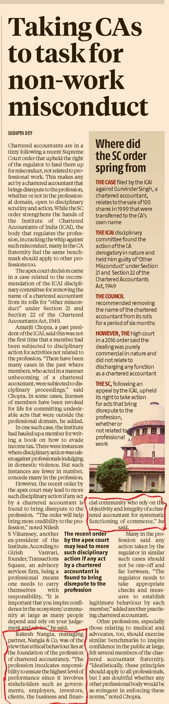 CAs are in a tizzy over SC order on misconduct outside professional sphere - Rakesh Nangia