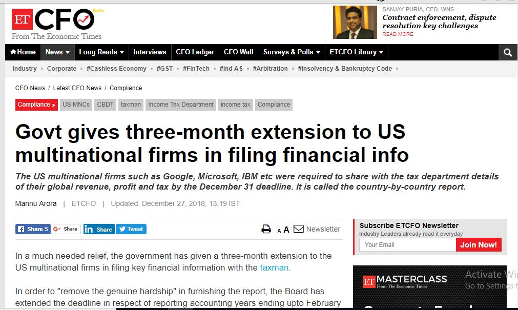 Govt gives three-month extension to US multinational firms in filing financial info