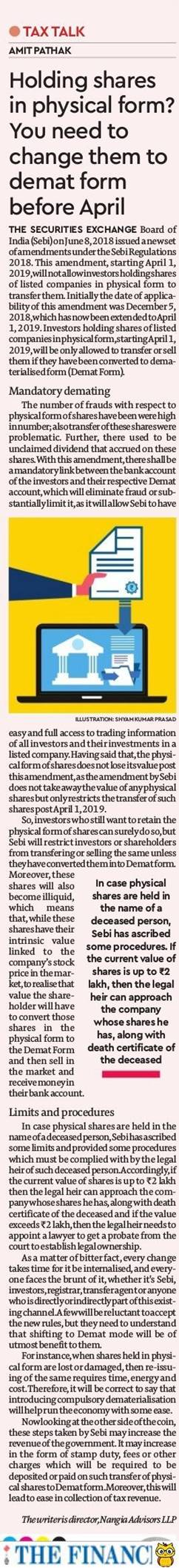 Holding shares in physical form? You need to change them to demat form before April- Amit Pathak