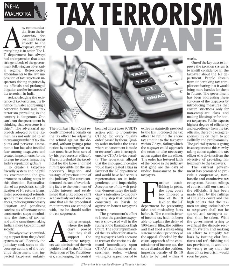 Tax terrorism on wane - Neha Malhotra