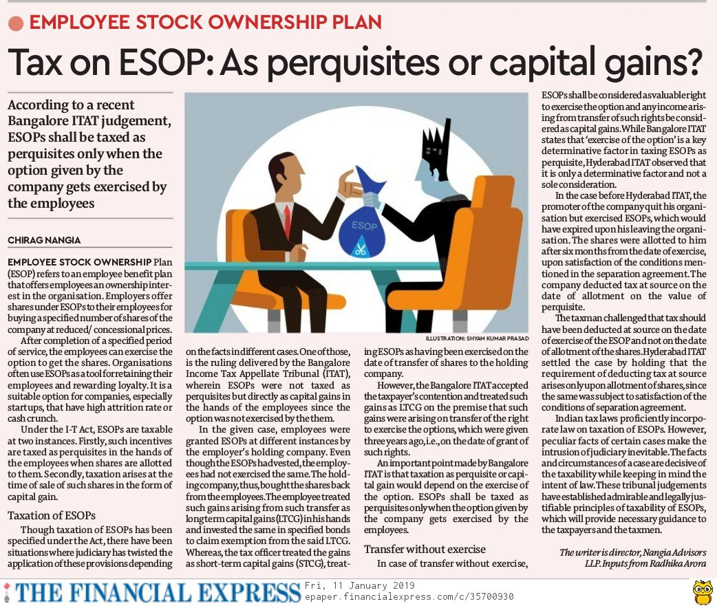 contributed an article on Tax on Employee Stock Ownership Plan is as perquisites or capital gains