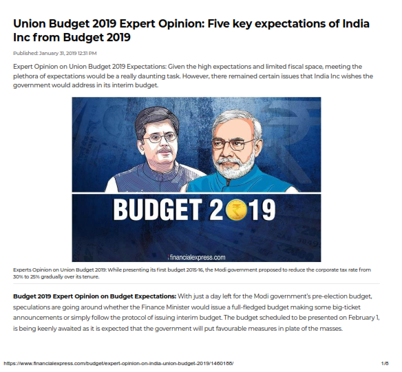 Five key expectations of India Inc from Budget 2019