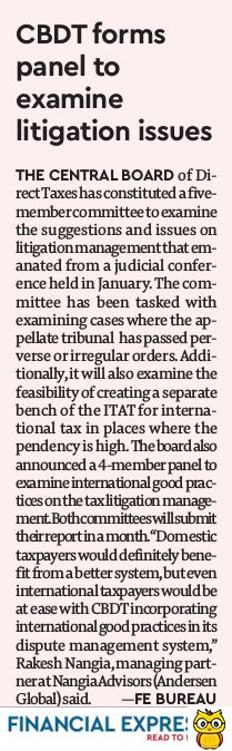 CBDT forms panel to examine issues and suggestions for better litigation management - Rakesh Nangia