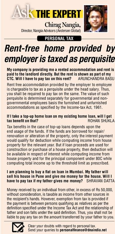 PERSONAL TAX: Rent-free home provided by employer is taxed as perquisite