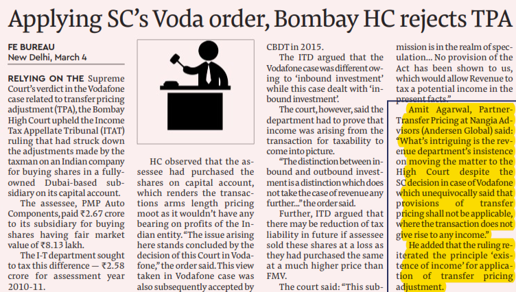 Citing Supreme Court's Vodafone order, Bombay HC rejects transfer pricing adjustment - Amit Agarwal