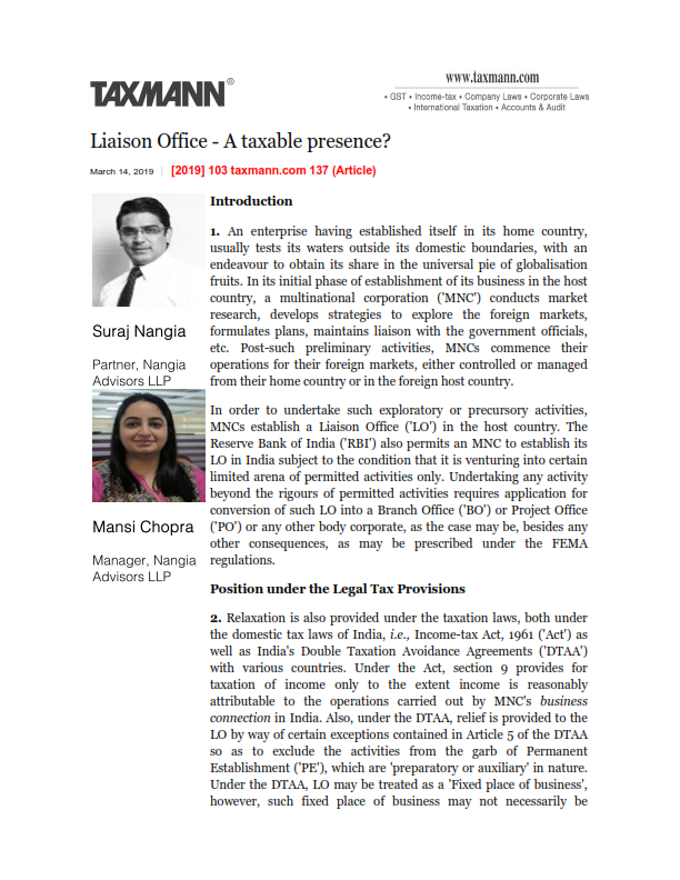 Liaison Office - A taxable presence -