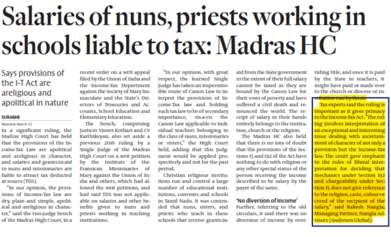 Salaries of nuns, priests working in schools liable to tax