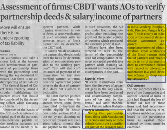 Assessment of firms: CBDT wants AOs to verify partnership deeds & salary/income of partners