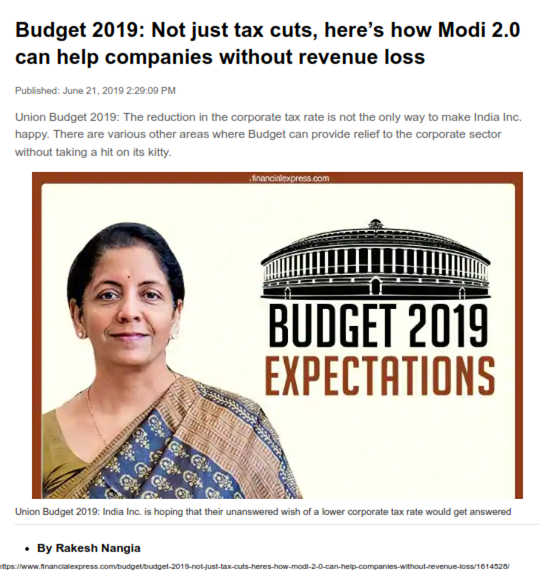 Budget 2019: Not just tax cuts, here's how Modi 2.0 can help companies without revenue loss - Rakesh Nangia