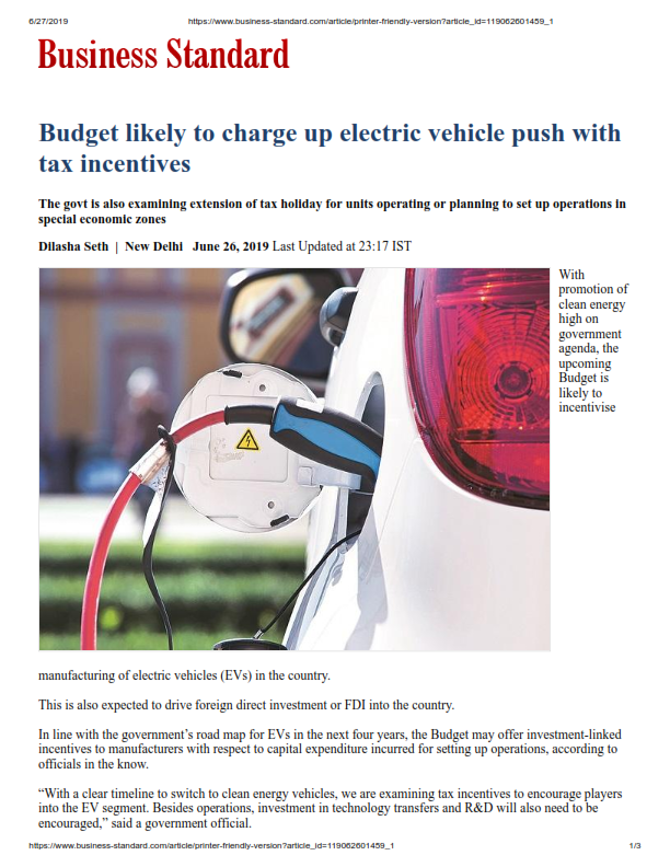 Budget likely to charge up electric vehicle push with tax incentives - Rakesh Nangia