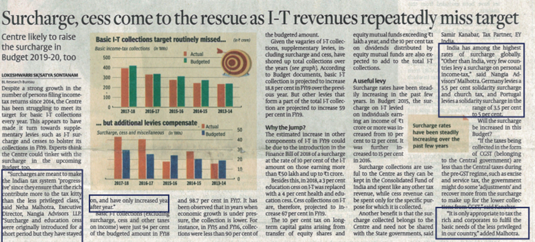 Surcharge, cess come to the rescue as I-T revenues repeatedly miss target - Neha Malhotra