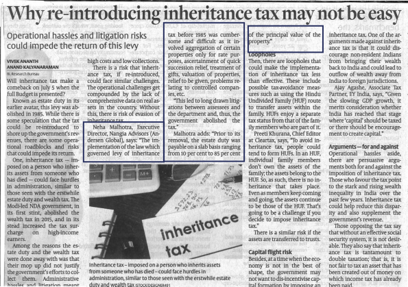 Why re-introducing inheritance tax may not be easy - Neha Malhotra