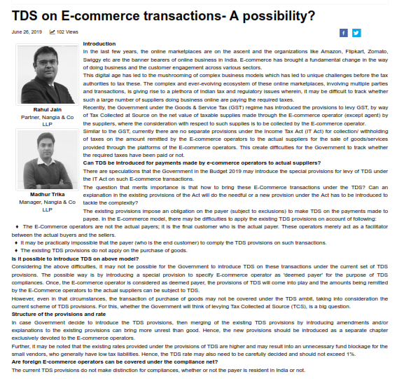 TDS on E-commerce transactions- A possibility