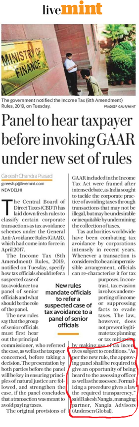 Panel to hear taxpayer before invoking GAAR under new set of rules