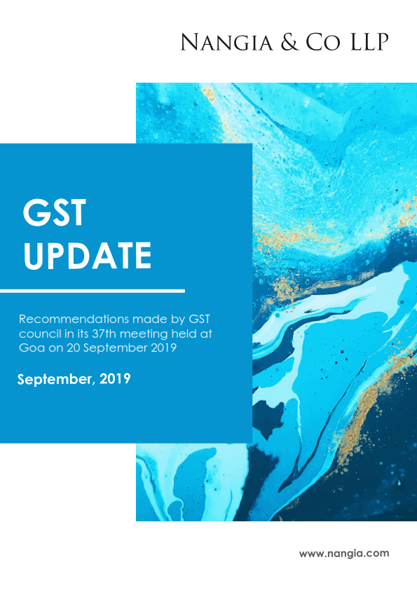 Recommendations made by GST council in its 37th meeting held on 20 September, 2019