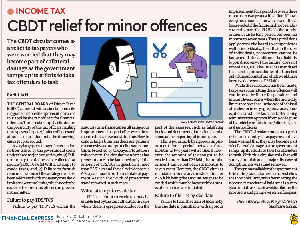 CBDT circular comes as relief for minor offences